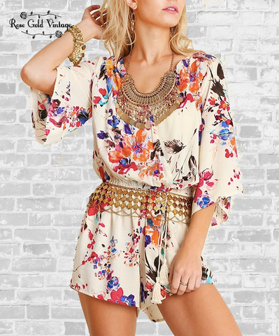 Perfect Floral Romper - Cream