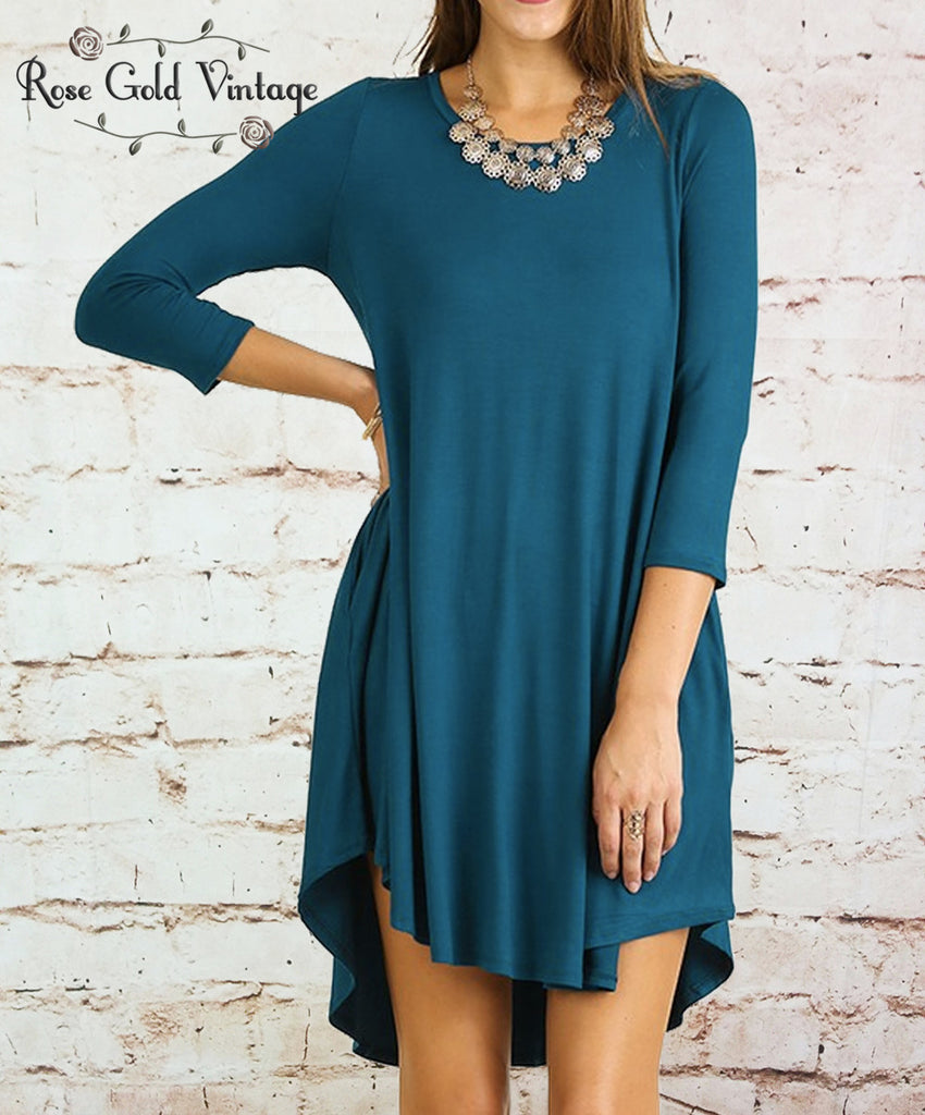 Perfect Pocket Tee Dress - Teal