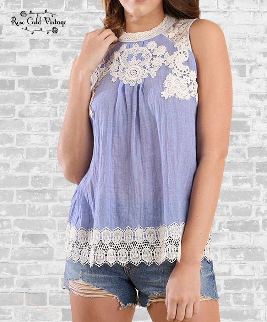 Sleeveless Lace & Crochet Top - Periwinkle