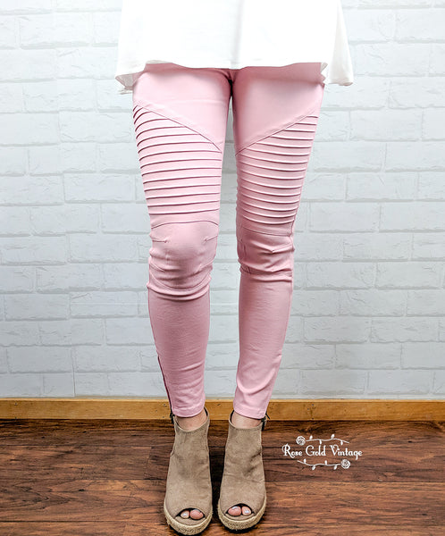 Denim Twill Moto Jeggings - Pink