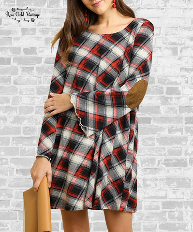 Bell Sleeve Plaid Dress with Pockets - Red