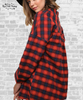 Floral Embroidered Flannel Tunic - Red Plaid