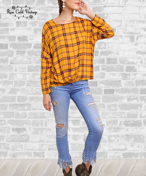 Plaid Gathered Print Top - Mustard