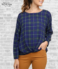 Plaid Gathered Print Top - Navy