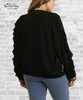 Embroidered Ruffle Bomber Jacket - Black