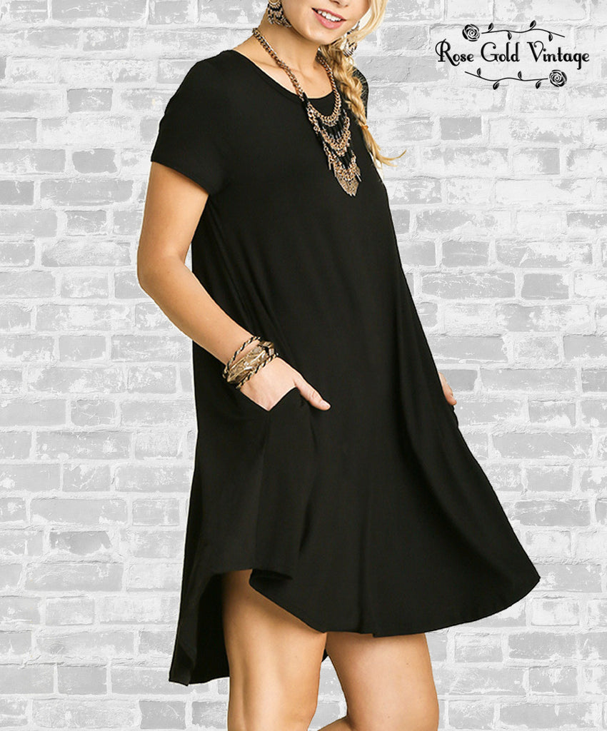 Perfect Pocket A Line Tee Dress - Black
