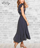 Polka Dot Smocked Skirt Set - Navy