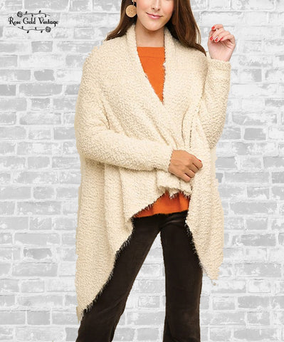 Waterfall Popcorn Cardigan - Cream