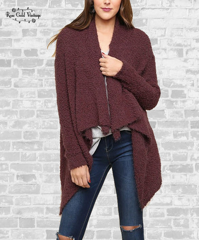 Waterfall Popcorn Cardigan - Red Bean