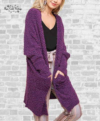 Popcorn Cardigan Sweater - Plum