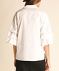 Gathered Puff Sleeve Oxford Shirt - White
