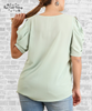 Puff Sleeve Top - Shadow Green