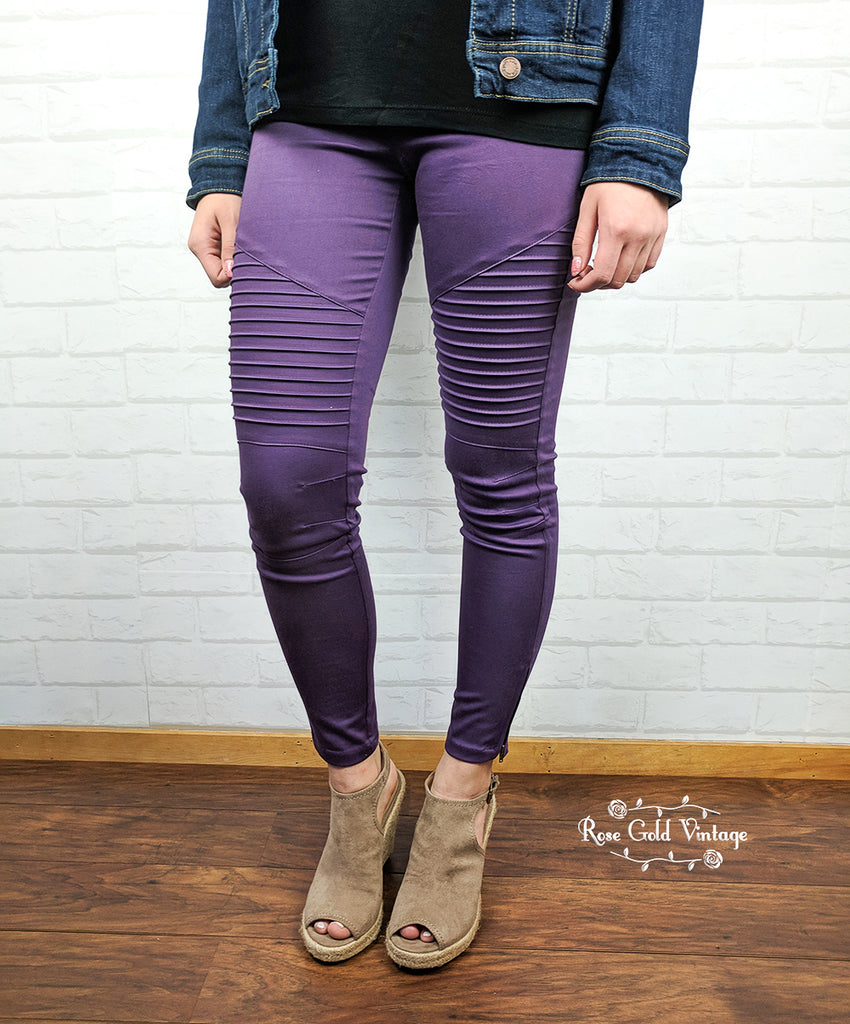 Denim Twill Moto Jeggings - Purple