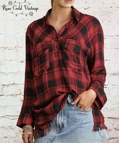 Plaid Fringed Tunic - Black & Red