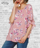 Ruffle Sleeve Floral Top - Rose