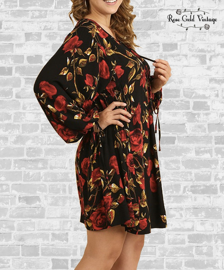 Tie Sleeve Floral Dress - Black