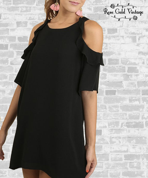 Ruffle Cold Shoulder Dress - Black