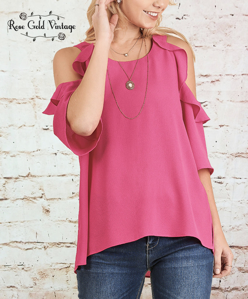 Cold Shoulder Ruffle Top - Hot Pink