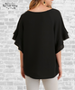 Ruffle Sleeve Crepe Top - Black