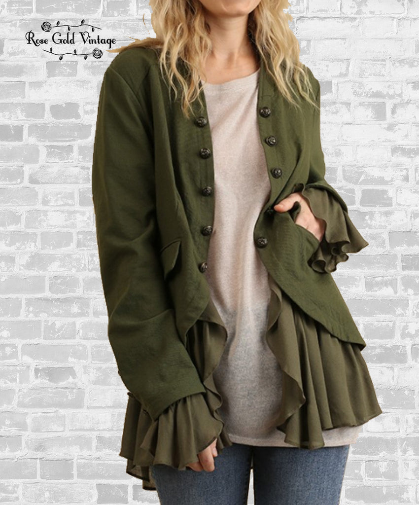 Military Inspired Layered Ruffle Jacket - Olive