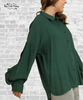 Open Sleeve Ruffle Blouse - Forest Green
