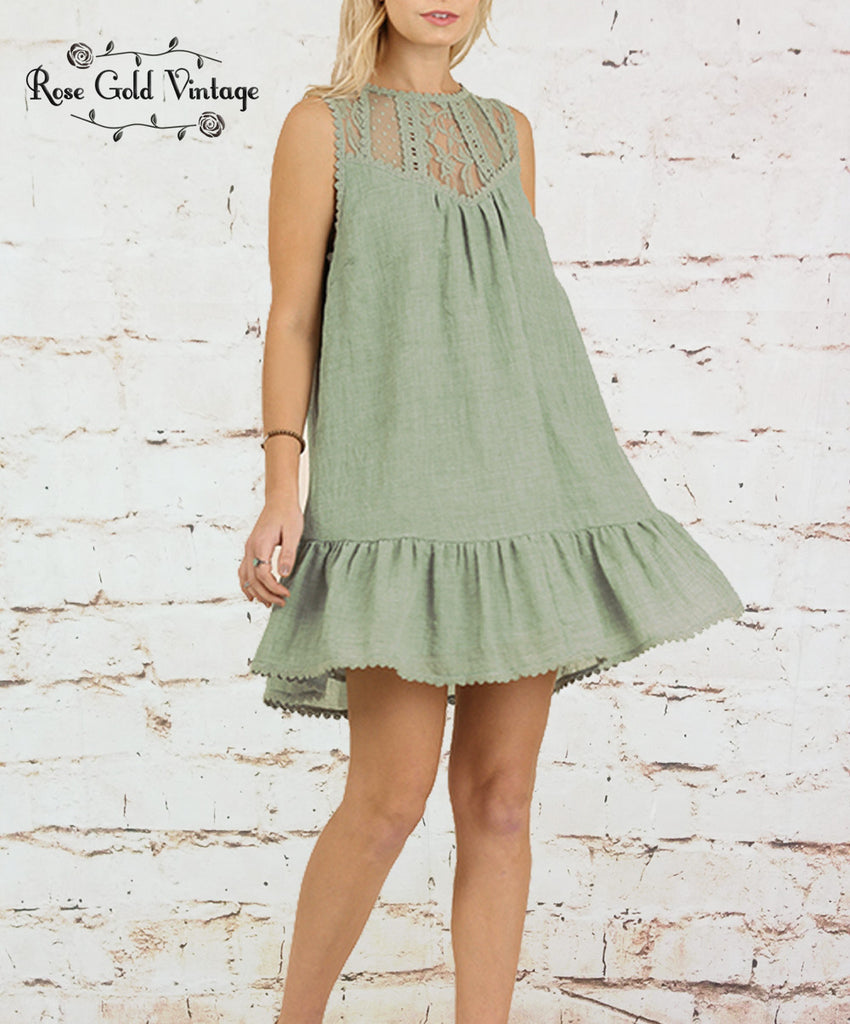 Sleeveless Lace Dress - Sage