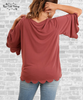 Scalloped Hem Tee - Rosewood