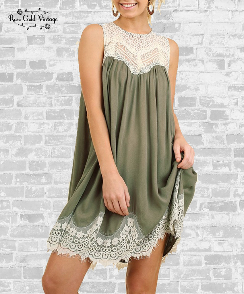 Sleeveless Lace Dress - Olive