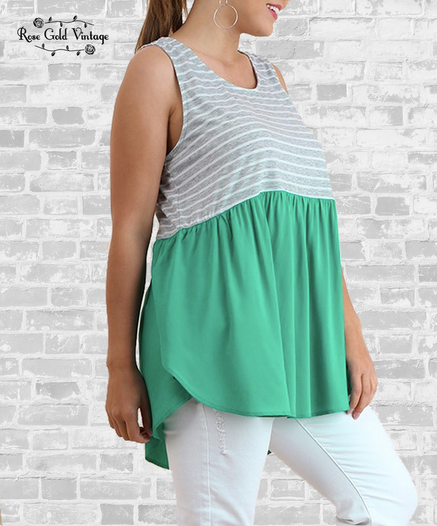 Striped Babydoll Tunic Tank - Green