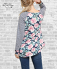 Floral & Stripes Raglan Top - Navy