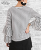 Striped Bell Sleeve Tee - Black & Ivory