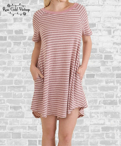 Perfect Pocket Striped Tee Dress - Raspberry