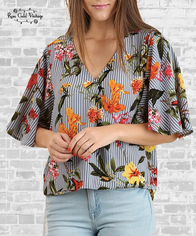 Flutter Sleeve Striped Floral Top - Gray