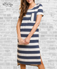 Striped High - Low Tee Dress - Denim Blue