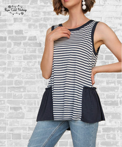 Striped Ruffle Hem Tank - Navy, Blush, Gray or Black