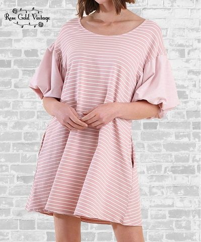 Puff Sleeve Striped Tee Dress - Rose