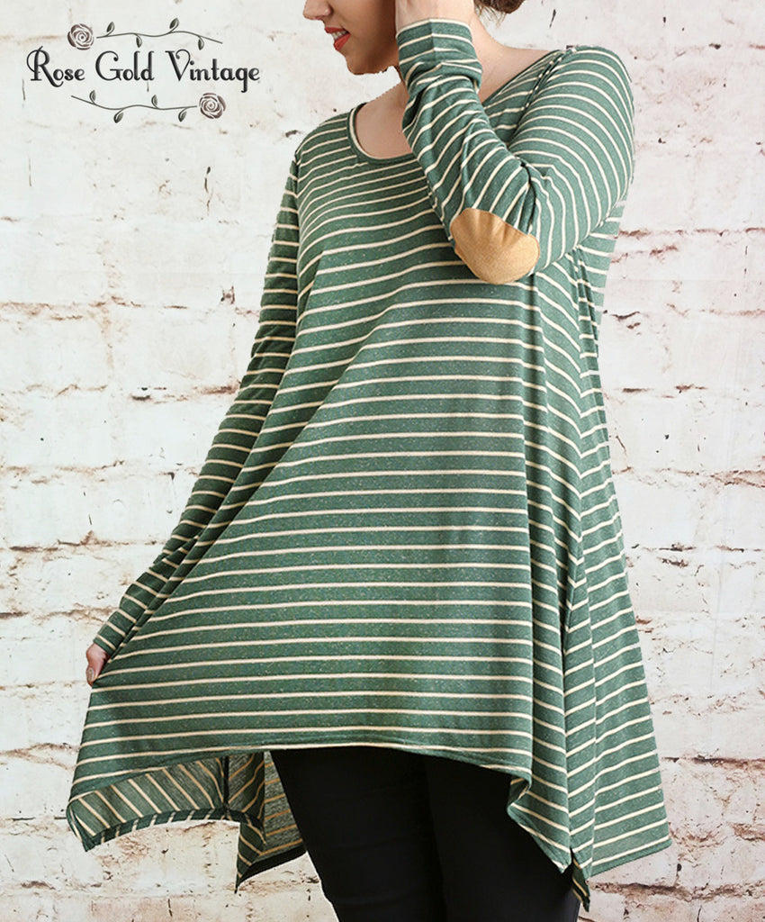 Striped Elbow Patch Tunic - Green