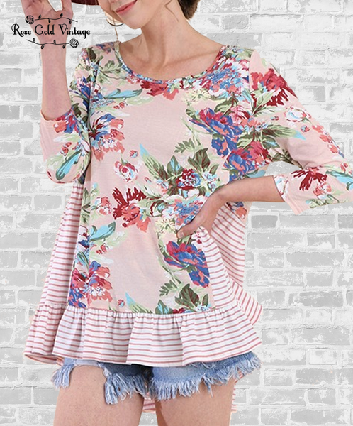 Floral & Stripe Ruffle Top - Blush