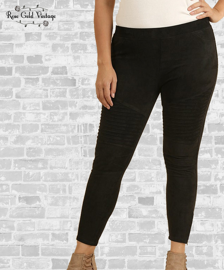 Suede Moto Leggings - Black