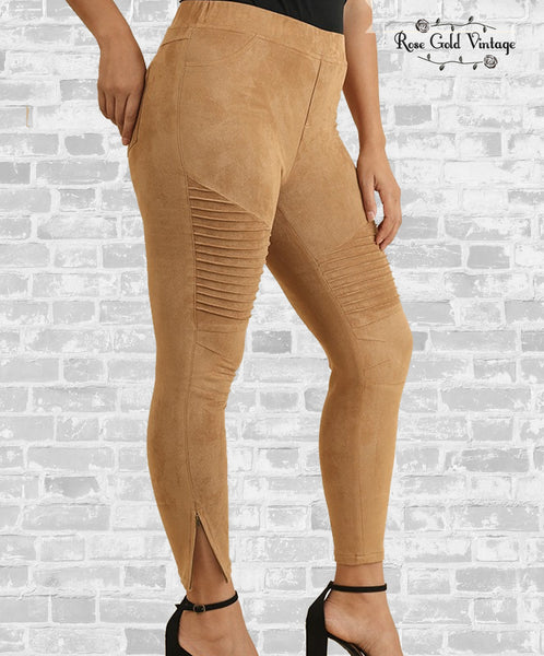 Suede Moto Leggings - Walnut