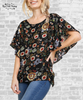 Flutter Sleeve Tie Back Top - Black Floral