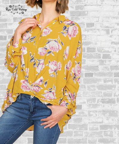 Floral Twist Button Up Shirt - Mango