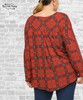 Plaid Gathered Print Top - Red