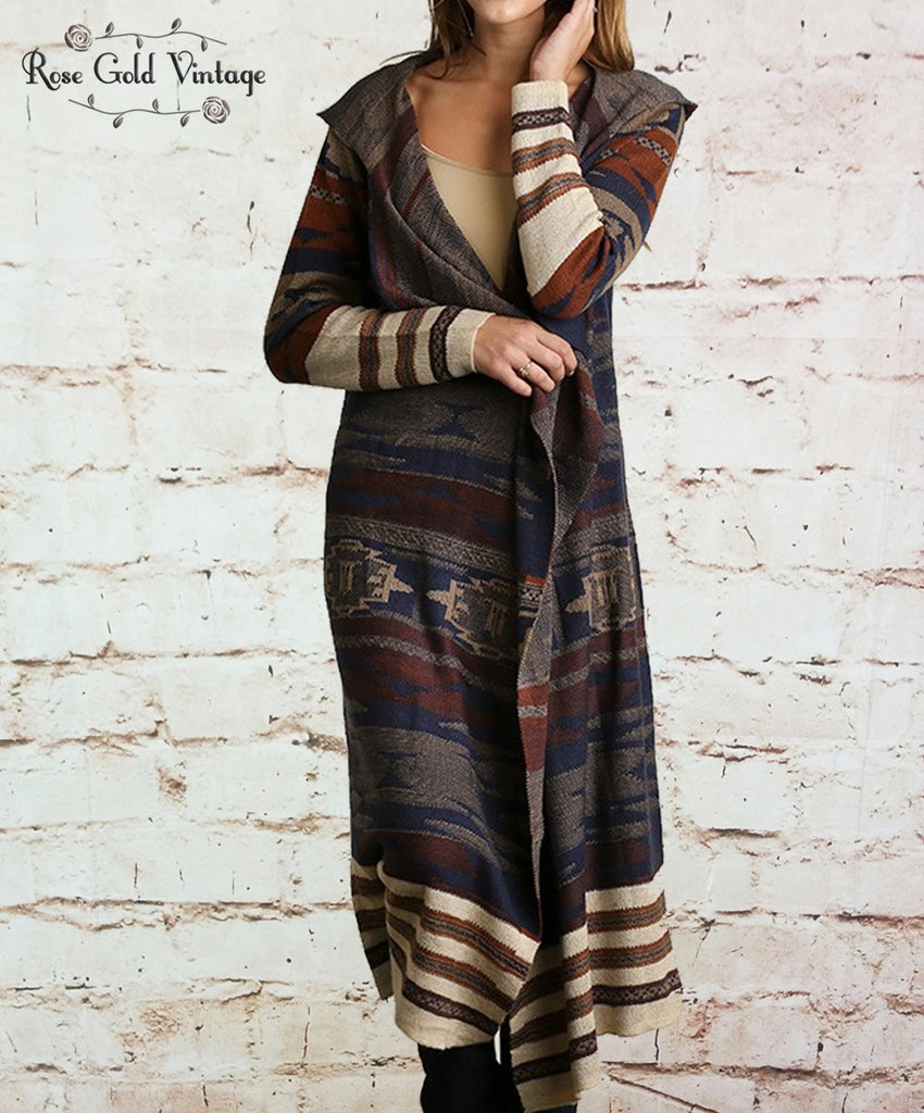 Long Hooded Sweater Cardigan - Brown