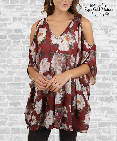 Floral V-Neck Tunic - Burgundy