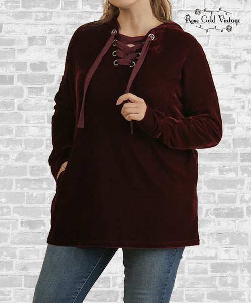 Lace-Up Velvet Hoodie Tunic- Burgundy
