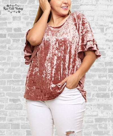 Ruffle Sleeve Velvet Top - Rose