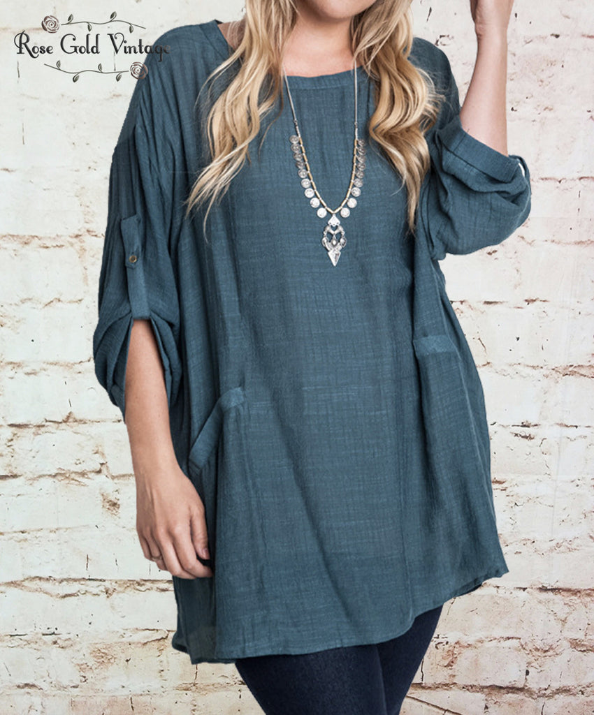 High Collared Shift Tunic - Seaweed
