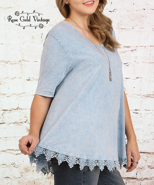 Crochet Trim Top - Blue
