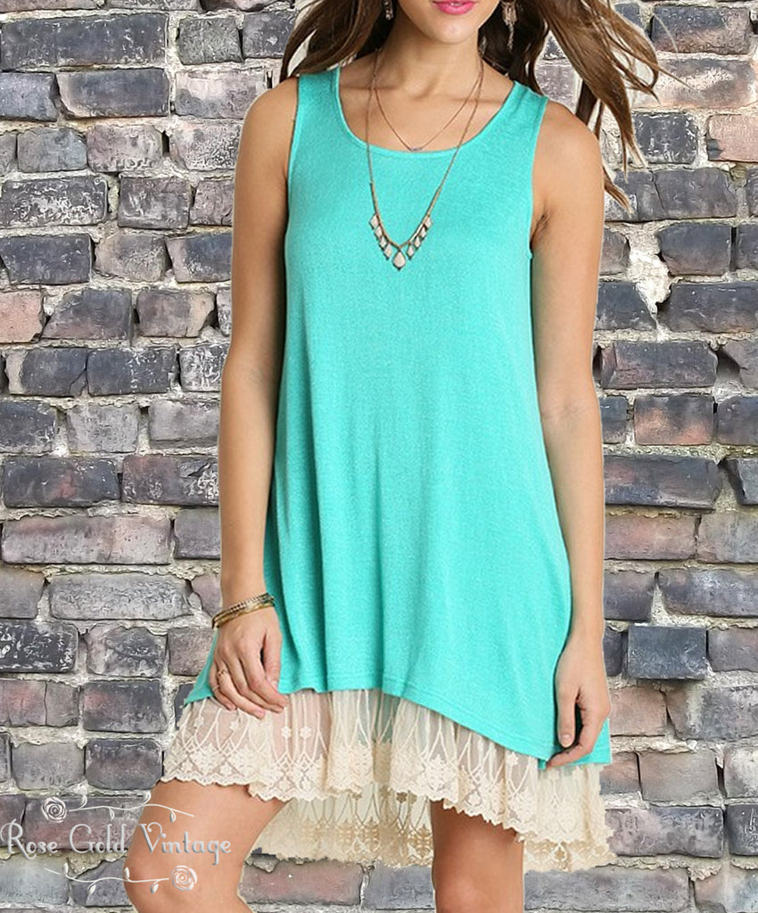 Lace Trim Tank Dress - Teal